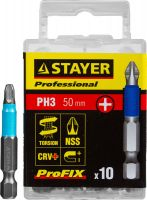 "Биты STAYER ""PROFESSIONAL"" ProFix Phillips, тип хвостовика E 1/4"", № 3, L=50мм, 10шт, 26203-3-50-10_z01"