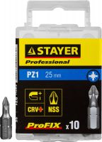 "Биты STAYER ""PROFESSIONAL"" ProFix Pozidriv, тип хвостовика C 1/4"", № 1, L=25мм, 10шт, 26221-1-25-10_z01"