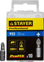 "Биты STAYER ""PROFESSIONAL"" ProFix Pozidriv, тип хвостовика C 1/4"", № 3, L=25мм, 10шт, 26221-3-25-10_z01"