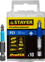 "Биты STAYER ""PROFESSIONAL"" ProFix Pozidriv, тип хвостовика E 1/4"", № 1, L=50мм, 10шт, 26223-1-50-10_z01"