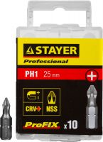 "Биты STAYER ""PROFESSIONAL"" ProFix Phillips, тип хвостовика C 1/4"", № 1, L=25мм, 10шт, 26201-1-25-10_z01"