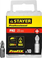 "Биты STAYER ""PROFESSIONAL"" ProFix Phillips, тип хвостовика C 1/4"", № 2, L=25мм, 10шт, 26201-2-25-10_z01"