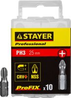 "Биты STAYER ""PROFESSIONAL"" ProFix Phillips, тип хвостовика C 1/4"", № 3, L=25мм, 10шт, 26201-3-25-10_z01"