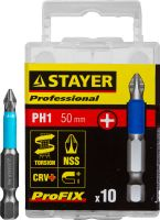 "Биты STAYER ""PROFESSIONAL"" ProFix Phillips, тип хвостовика E 1/4"", № 1, L=50мм, 10шт, 26203-1-50-10_z01"